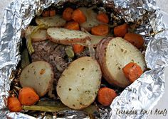 Grilled Hobo Dinners Recipe    Love these!!! Family tradition when camping. We sometimes add cabbage as well...