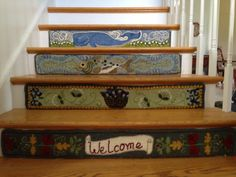 Wallpapered stair risers. You can use whatever design fits with the rest of your home decor.