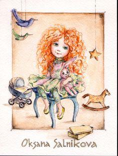 bears dolls toys watercolor postcards по мотивам работ Оксаны Сальниковой