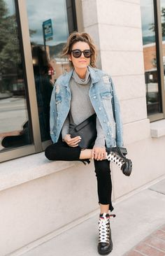 Grey sweater+black skinny jeans+black lace-up heeled boots+denim pearl jacket+sunglasses+black clutch+black sunglasses. Lace Up Heel Boots, Black Lace Up Heels, Lace Up Booties, Black Clutch, Heeled Boots, Casual Summer Outfits For Teens, Casual School Outfits, Teen Skirts, Teen Jeans