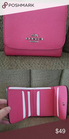 "COACH WALLET New with tags   AUTHENTIC Xgn LEATHER.            TRIFOLD wallet Sv/Dahlia.  8 card slots 2 deeper slots and cash slot. Outside in back of wallet is 4"" deep change pocket etc. Snaps shut..  Sz.is 4 x 4 closed and 10 1/2"" long  💟💟💟💟💟💟💟💟💟💟 coach Bags Wallets"