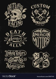 Vector: One color vintage motorcycle graphic set Biker themed Tattoo Inspiratitions. Old school vintage styled biker tattoos Motorcycle Logo, Motorcycle Design, Motorcycle Garage, Biker Tattoos, Scratchboard, Stock Foto, Foto Art, Vintage Motorcycles, One Color