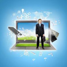 Modern technology with computers, businessman Information Technology, Computers, Cool Photos, Concept, Amazing, Illustration, Modern, Trendy Tree, Illustrations