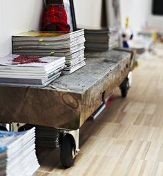 reclaimed wood with casters