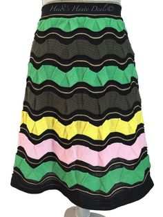 6dfc361e0b8465 M Missoni Multicolor Wool Lurex Blend Wave Knit A-line Skirt 4 (s) US 40 It