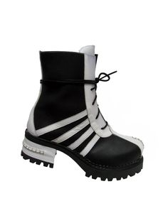 Vintage Luchiny Boots Womens Black and White by Atomicfireball