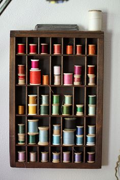 Wooden spools in printer's drawer. My Sewing Room, Sewing Rooms, Printers Drawer, Thread Storage, Thread Holder, Spool Holder, Sewing Room Organization, Quilting Room, Wooden Spools