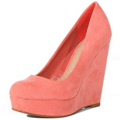 coral round-toe suede wedges