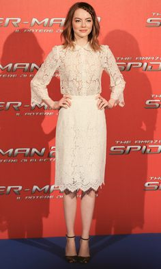 Sophisticated in lace, Emma chose a Dolce & Gabbana two-piece for a photocall in Rome, 14 April 2014