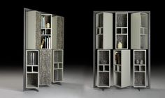 B550 bookcase by BORZALINO - lacquered metal frame, 360° swivel lacquered shelves with back panel covered with a Jim Thompson's silk fabric