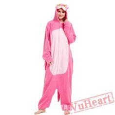 Adult Pink Wolf Kigurumi Onesie Pajamas / Costumes for Women & Men