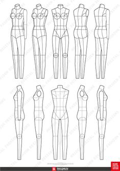 Fashion Flats Body Templates Female Special Edition - Sketch Templates - Ideas of Sketch Templates - Flat Drawings, Flat Sketches, Body Sketches, Fashion Design Portfolio, Fashion Design Drawings, Fashion Sketches, Fashion Sketch Template, Fashion Figure Templates, Fashion Figure Drawing