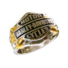 The ring is solid .925 Sterling Silver with a� Harley-Davidson Bar & Shield logo that is masterfully sculpted in dramatic high relief. The flames are richly accented in 24 karat gold. This ring has a matching� ladies ring which is also available from this store. Both the� men's and ladies� ring are also available as a set. Available in men's sizes 8-15.