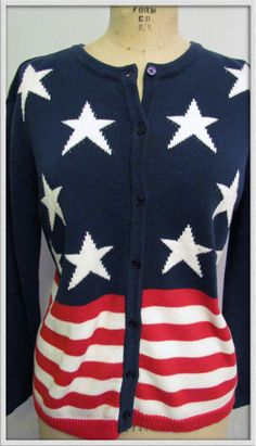 Darling Vintage red white and blue patriotic Star & Stripes 90s Cotton Sweater. via Etsy.