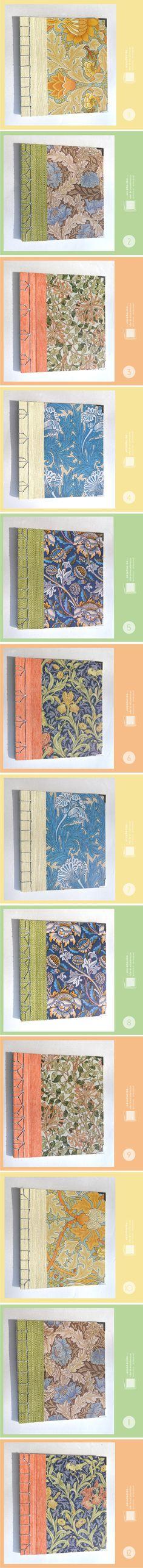 ***Libretas William Morris***  Encuadernaciones japonesas (diferentes costuras: variante de 4 puntos, noble, hoja de cáñamo y caparazón de tortuga) Tapas duras (cartón de 1mm) – Cubierta de papeles con diseñod e William Morris y papeles de empapelar – 50 hojas ahuesadas de 80grs – Tamaño: 16 x 14.5cm – Esquineros metálicos