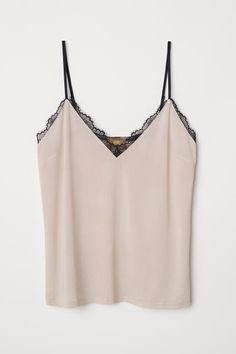 1affc6afafe497 Jersey Camisole Top with Lace - Powder beige - Ladies