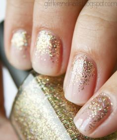Nude + gold glitter!!! @Annah Jane Paschall this is what i was talking about!!!! This with a french tip<3