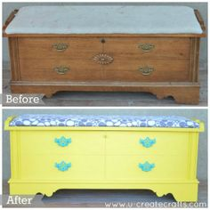 Purchse some beautiful new carpet or tile from Sherlock's, then create your own furnature to match! DIY Cedar Chest Makeover Before & After