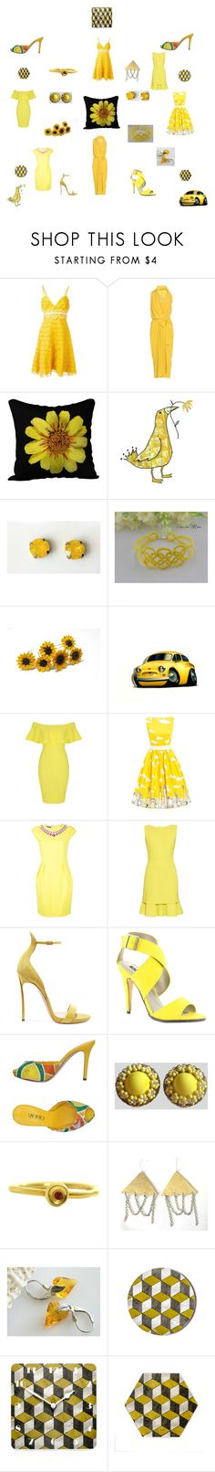 """Yellow Dresses Summertime"" by einder ❤ liked on Polyvore featuring Giambattista Valli, Rick Owens, Giallo, Jane Norman, Moschino, Oscar de la Renta, Casadei, Michael Antonio and Rodo"