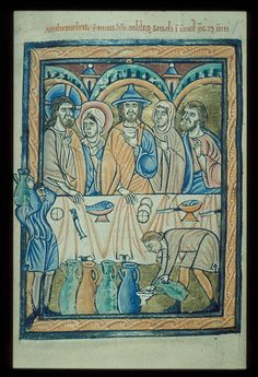 The Marriage at Cana.  Northern English psalter of the late 12th century Byzantizing tradition.  Bodleian Library. Gough Liturg. 2, fol 20.