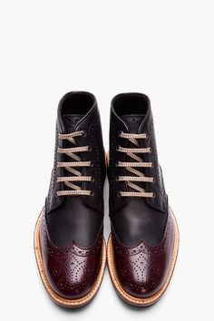 Black & Burgundy Leather Othello Brogue Boots