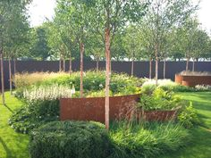 Curved corten steelGarden Design, Raised Beds, Deschampsia Cespitosa ...