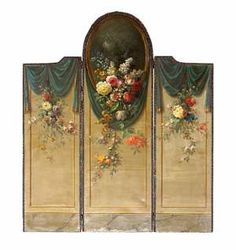 Neoclassical Style Brass Mounted Leather and Canvas Painted Three Panel Screen, Last Quarter Century <> (vintage lady, victorian home)
