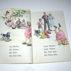 We Work and Play Vintage 1940s Dick and Jane by grandmothersattic, $16.95