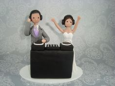Custom Bride & Groom DJ Theme Wedding Cake Topper by mudcards, $140.00