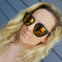 Cat eye mirrored sunglasses Black with yellow mirrored lenses   No trades   Price firm Accessories Sunglasses