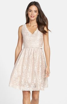 Free shipping and returns on Eliza J Lace Fit & Flare Dress at Nordstrom.com. A lustrous base highlights gorgeous floral lace to give this classic fit-and-flare dress rich two-tone dimension. A scalloped V-neckline, coordinating belt and cute back cutout underscore the style's girly verve.