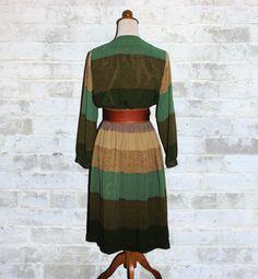 Vintage 70's Green Striped Tones Wrap Dress M by fivestonesvintage, $45.00