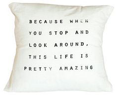 """Amazing"" 16x16 Cotton Pillow, Ivory on shopstyle.com"
