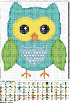 Blue owl. Sewing pattern graph: cross stitch, plastic canvas.