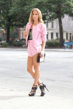 I love that this looks cute, girly, and edgy - Twenty8Twelve short suit