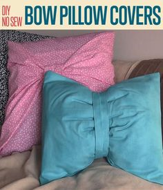 No Sew Pillow Covers Project | How To Make Quick and Easy Bows With Pillows By DIY Ready. http://diyready.com/diy-no-sew-bow-pillow-covers-two-ways/