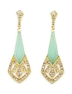 Roaring 20's Dangle Earrings: Charlotte Russe  Adorable vintage inspired earrings in mint. They look so much more expensive than they are!