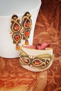 Pod toskánským nebem Soutache Bracelet, Soutache Jewelry, Boho Jewelry, Jewelry Crafts, Jewelry Art, Beaded Jewelry, Jewelery, Beaded Necklace, Fashion Jewelry