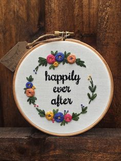 Happily ever after,Embroidery hoop,Floral embroidery,Modern embroidery hoop art,Hand embroidery,wedding gift,anniversary gift,zezehandcraft by zezehandcraft on Etsy https://www.etsy.com/listing/515419263/happily-ever-afterembroidery-hoopfloral