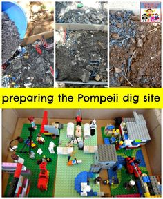 Pompeii lesson - dig out a buried Lego city