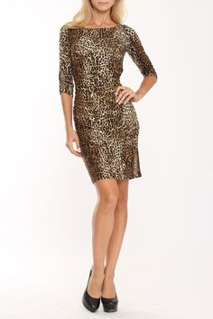 lily inc Shirred Boat Neck Dress In Brown Animal - Beyond the Rack