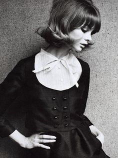 Jean Shrimpton in a Dior suit photographed by John French for The Sunday Times, London, 1963.