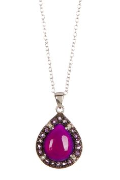 Cabochon African Amethyst & Pink Chalcedony Pear Drop Pendant Necklace by Savvy Cie on @HauteLook