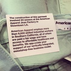 Read our tags to know where and how your clothes are made. #madeinusa #sweatshopfree #ethicalmanufacturing