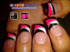 Mega Neon Pink, Jet Black Nail Art acrylics with regular French White and Silver Glitter Line. Created using Inverted Moulds by Cheryl Hammond www.easynail.co.uk