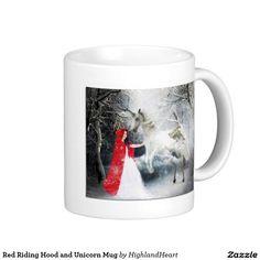 Red Riding Hood and Unicorn Mug Celtic Fantasy Art, Red Riding Hood, Drinkware, Unicorn, Coffee Mugs, Design, Tumbler, Coffee Cups, Glass