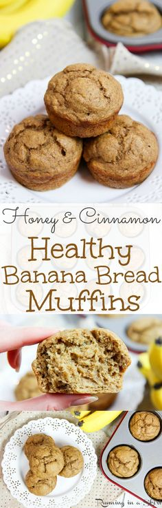 Honey Cinnamon Healthy Banana Bread Muffins recipe. A clean eating recipe with greek yogurt, no butter, whole wheat flour and a touch of coconut oil.  No added refined white sugar.  A great snack or breakfast. Easy, simple and naturally sweet. / Running in a Skirt