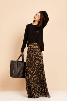 lovely animal print maxi skirt.