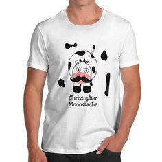 Men's Mooostache Cow Funny T-Shirt