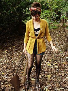 Mustard yellow, stripes, hair ribbon, polka dot tights. Super trendy. I'd wear it with a skirt.